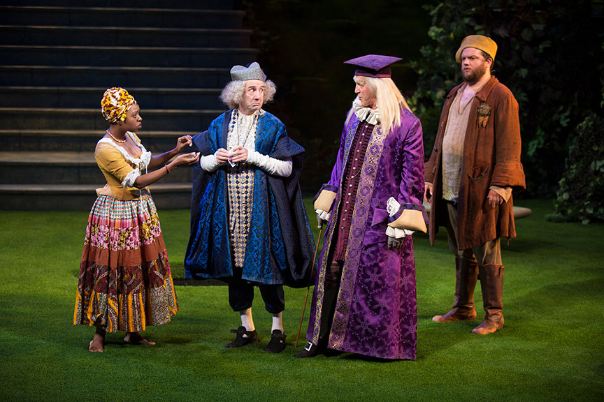 (from left) Makha Mthembu as Jaquenetta, Patrick Kerr as Sir Nathaniel, Stephen Spinella as Holofernes, and Jake Millgard as Dull in William Shakespeare's Love's Labor's Lost, directed by Kathleen Marshall, running August 14 - September 18, 2016 at The Old Globe. Photo by Jim Cox.