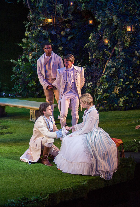 (clockwise from bottom left) Jonny Orsini as Ferdinand, King of Navarre, Amara James Aja as Dumaine, Kevin Cahoon as Boyet, and Kristen Connolly as Princess of France in William Shakespeare's Love's Labor's Lost, directed by Kathleen Marshall, running August 14 - September 18, 2016 at The Old Globe. Photo by Jim Cox.
