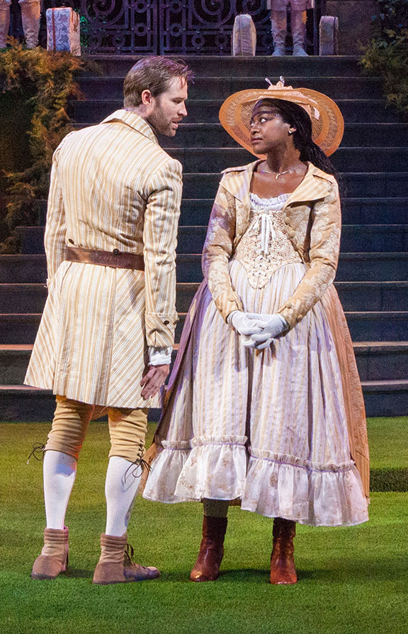 Kieran Campion as Berowne and Pascale Armand as Rosaline in William Shakespeare's Love's Labor's Lost, directed by Kathleen Marshall, running August 14 - September 18, 2016 at The Old Globe. Photo by Jim Cox.