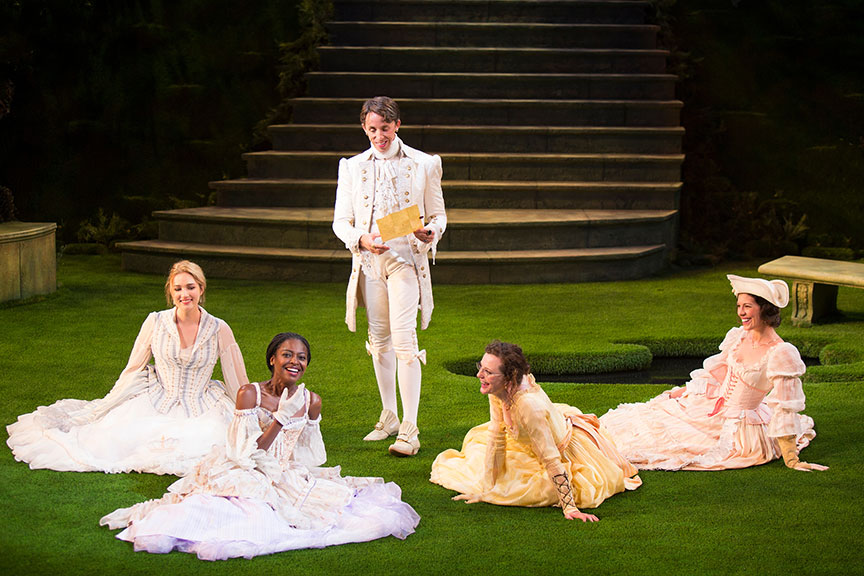 (from left) Kristen Connolly as Priness of France, Pascale Armand as Rosaline, Kevin Cahoon as Boyet, Talley Beth Gale as Katherine, and Amy Blackman as Maria in William Shakespeare's Love's Labor's Lost, directed by Kathleen Marshall, running August 14 - September 18, 2016 at The Old Globe. Photo by Jim Cox.