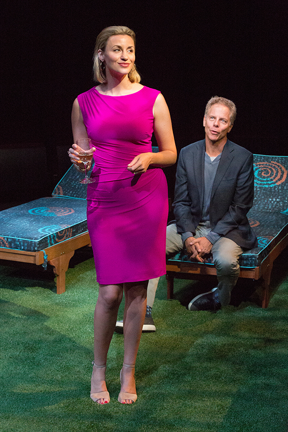 Alexandra Henrikson appears as Laura and Greg Germann as Norm in the world premiere of Steve Martin's Meteor Shower, an adult comedy, directed by Edelstein, July 30 - Sept. 18, 2016 at The Old Globe. Photo by Jim Cox.