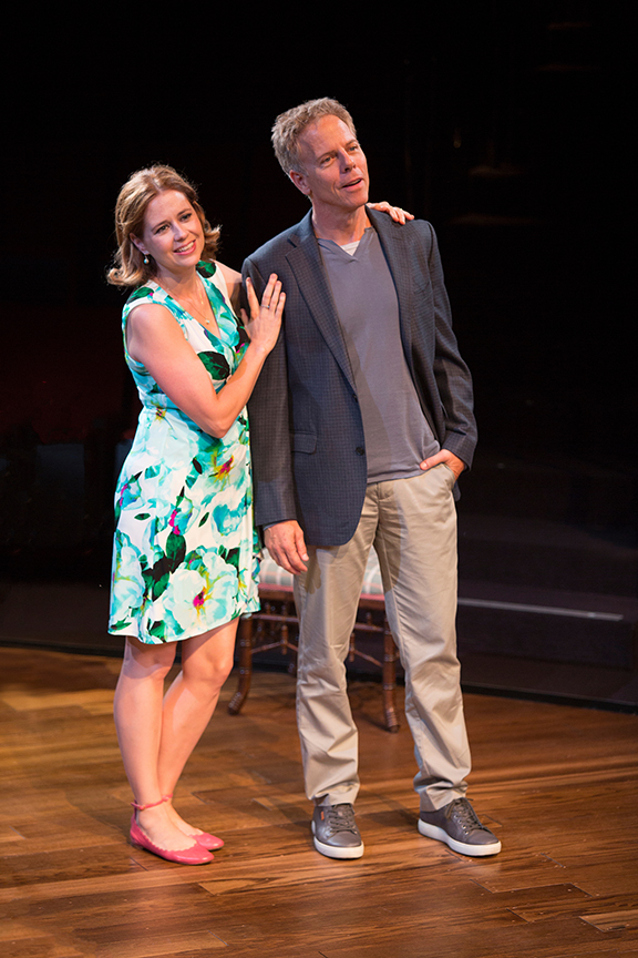 Jenna Fischer appears as Corky and Greg Germann as Norm in the world premiere of Steve Martin's Meteor Shower, an adult comedy, directed by Edelstein, July 30 - Sept. 18, 2016 at The Old Globe. Photo by Jim Cox.