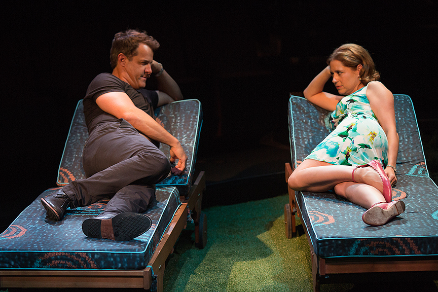 Josh Stamberg appears as Gerald and Jenna Fischer as Corky in the world premiere of Steve Martin's Meteor Shower, an adult comedy, directed by Edelstein, July 30 - Sept. 18, 2016 at The Old Globe. Photo by Jim Cox.