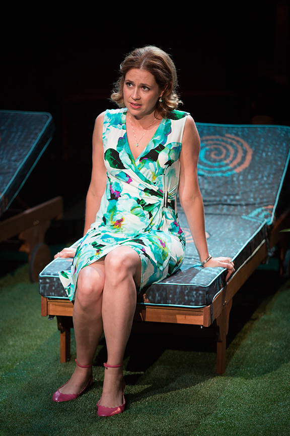 Jenna Fischer appears as Corky in the world premiere of Steve Martin's Meteor Shower, an adult comedy, directed by Edelstein, July 30 - Sept. 18, 2016 at The Old Globe. Photo by Jim Cox.