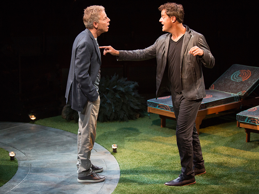 (from left) Greg Germann appears as Norm and Josh Stamberg as Gerald in the world premiere of Steve Martin's Meteor Shower, an adult comedy, directed by Edelstein, July 30 - Sept. 18, 2016 at The Old Globe. Photo by Jim Cox.