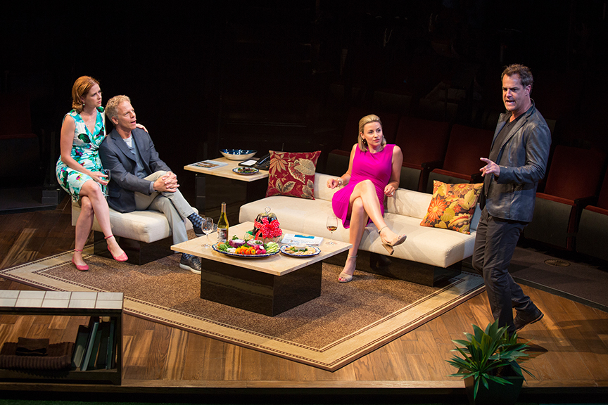 (from left) Jenna Fischer appears as Corky, Greg Germann as Norm, Alexandra Henrikson as Laura, and Josh Stamberg as Gerald in the world premiere of Steve Martin's Meteor Shower, an adult comedy, directed by Edelstein, July 30 - Sept. 18, 2016 at The Old Globe. Photo by Jim Cox.