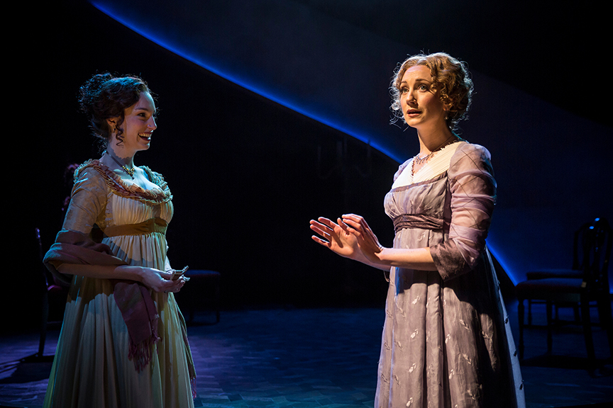 (from left) Emily Berman as Lucy Steele and Sharon Rietkerk as Elinor Dashwood