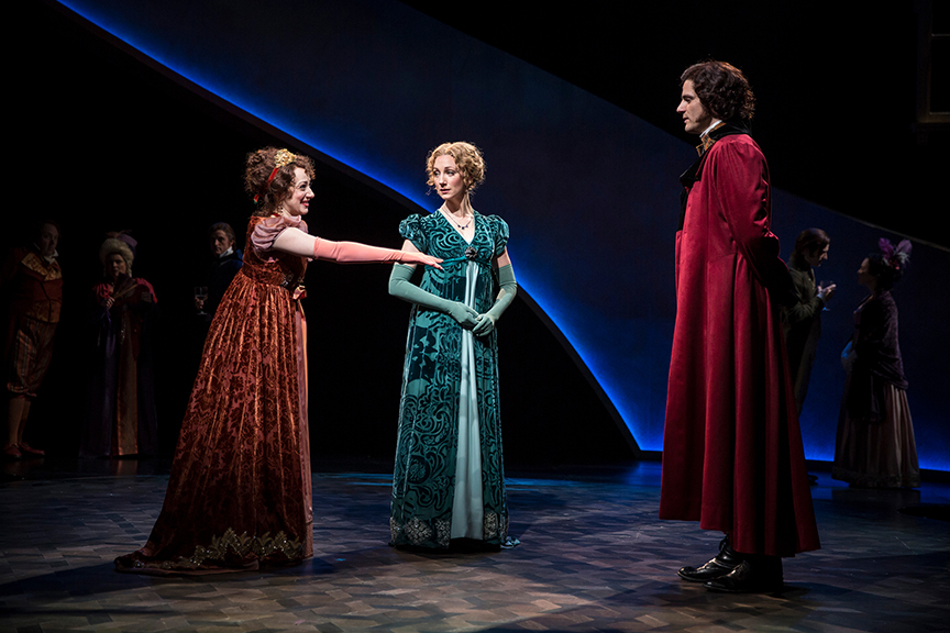 (from left) Megan McGinnis as Marianne Dashwood, Sharon Rietkerk as Elinor Dashwood, and Peter Saide as Mr. Willoughby