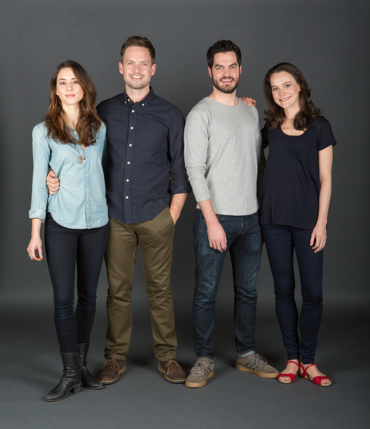 (from left) Troian Bellisario stars as Mallory, Patrick J. Adams as Tim, Alex Mickiewicz as Sergei, and Natalia Payne as Galina
