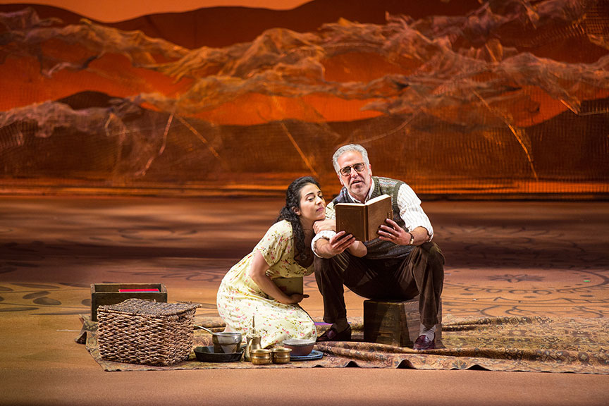 (from left) Nadine Malouf as Laila and Joseph Kamal as Babi in A Thousand Splendid Suns, written by Ursula Rani Sarma, based on the book by Khaled Hosseini, directed by Carey Perloff, and co-produced by American Conservatory Theater, runs May 12 – June 17, 2018 at The Old Globe. Photo by Jim Cox.