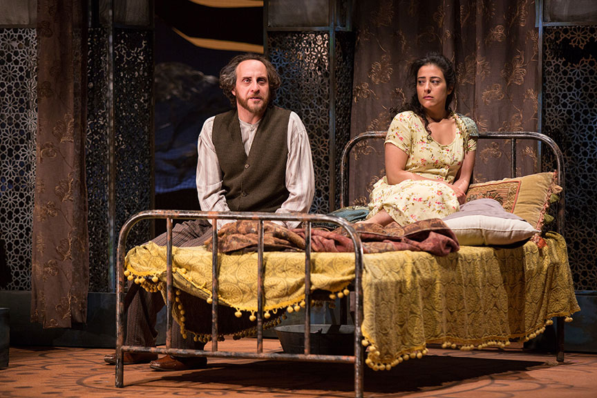 (from left) Haysam Kadri as Rasheed and Nadine Malouf as Laila in A Thousand Splendid Suns, written by Ursula Rani Sarma, based on the book by Khaled Hosseini, directed by Carey Perloff, and co-produced by American Conservatory Theater, runs May 12 – June 17, 2018 at The Old Globe. Photo by Jim Cox.