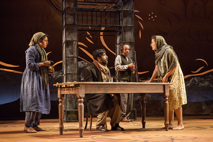 (from left) Denmo Ibrahim as Mariam, Jason Kapoor as Abdul Sharif, Haysam Kadri as Rasheed, and Nadine Malouf as Laila in A Thousand Splendid Suns, written by Ursula Rani Sarma, based on the book by Khaled Hosseini, directed by Carey Perloff, and co-produced by American Conservatory Theater, runs May 12 – June 17, 2018 at The Old Globe. Photo by Jim Cox.