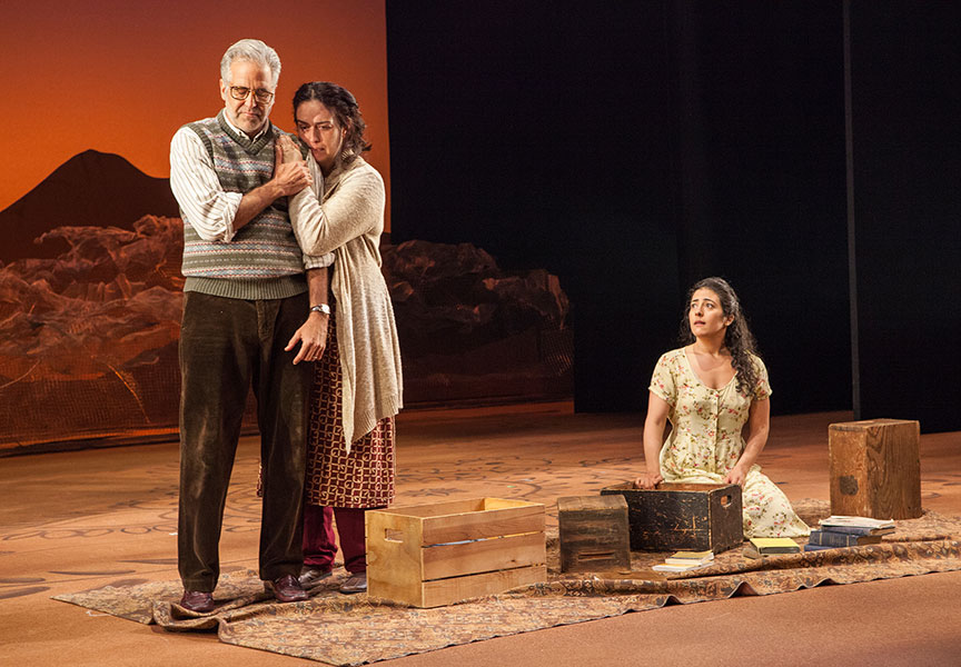 (from left) Joseph Kamal as Babi, Lanna Joffrey as Fariba, and Nadine Malouf as Laila in A Thousand Splendid Suns, written by Ursula Rani Sarma, based on the book by Khaled Hosseini, directed by Carey Perloff, and co-produced by American Conservatory Theater, runs May 12 – June 17, 2018 at The Old Globe. Photo by Jim Cox.