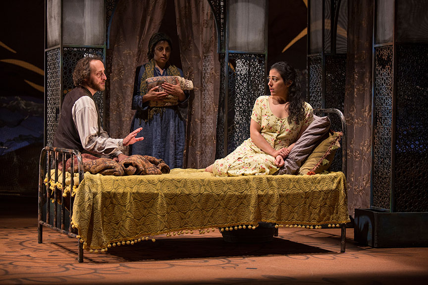 (from left) Haysam Kadri as Rasheed, Denmo Ibrahim as Mariam, and Nadine Malouf as Laila in A Thousand Splendid Suns, written by Ursula Rani Sarma, based on the book by Khaled Hosseini, directed by Carey Perloff, and co-produced by American Conservatory Theater, runs May 12 – June 17, 2018 at The Old Globe. Photo by Jim Cox.