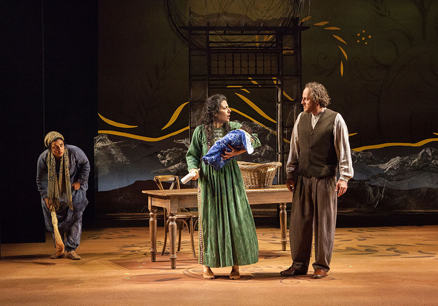 (from left) Denmo Ibrahim as Mariam, Nadine Malouf as Laila, and Haysam Kadri as Rasheed  in A Thousand Splendid Suns, written by Ursula Rani Sarma, based on the book by Khaled Hosseini, directed by Carey Perloff, and co-produced by American Conservatory Theater, runs May 12 – June 17, 2018 at The Old Globe. Photo by Jim Cox.