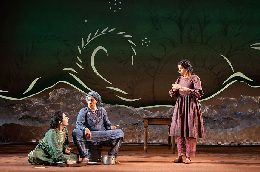 (from left) Nadine Malouf as Laila, Denmo Ibrahim as Mariam, and Nikita Tewani as Aziza in A Thousand Splendid Suns, written by Ursula Rani Sarma, based on the book by Khaled Hosseini, directed by Carey Perloff, and co-produced by American Conservatory Theater, runs May 12 – June 17, 2018 at The Old Globe. Photo by Jim Cox.