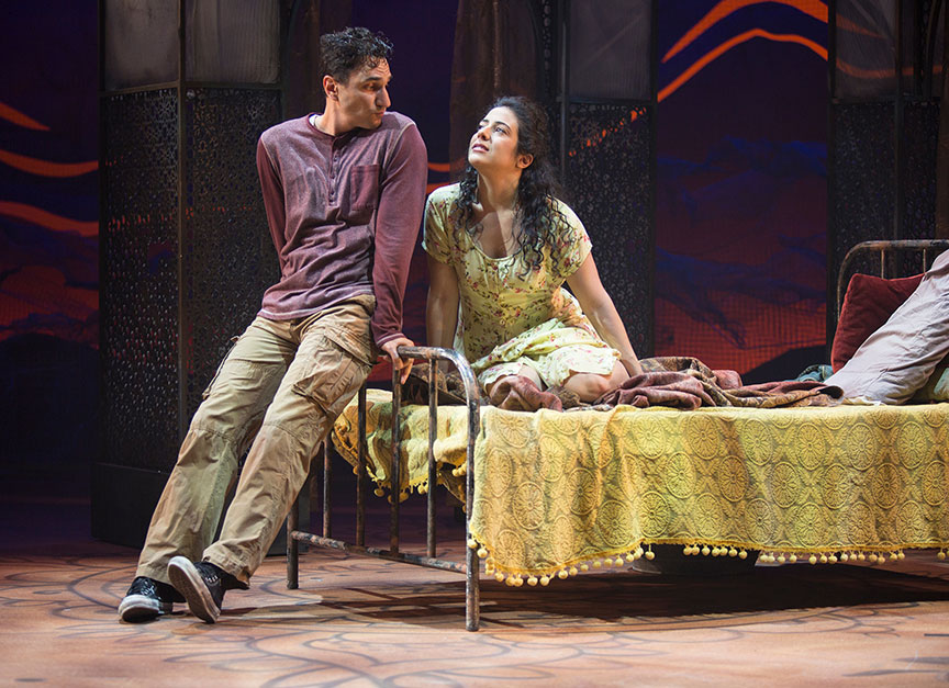 (from left) Antoine Yared as Tariq and Nadine Malouf as Laila in A Thousand Splendid Suns, written by Ursula Rani Sarma, based on the book by Khaled Hosseini, directed by Carey Perloff, and co-produced by American Conservatory Theater, runs May 12 – June 17, 2018 at The Old Globe. Photo by Jim Cox.