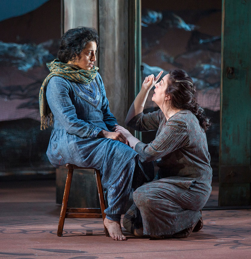 (from left) Denmo Ibrahim as Mariam and Lanna Joffrey as Nana in A Thousand Splendid Suns, written by Ursula Rani Sarma, based on the book by Khaled Hosseini, directed by Carey Perloff, and co-produced by American Conservatory Theater, runs May 12 – June 17, 2018 at The Old Globe. Photo by Jim Cox.