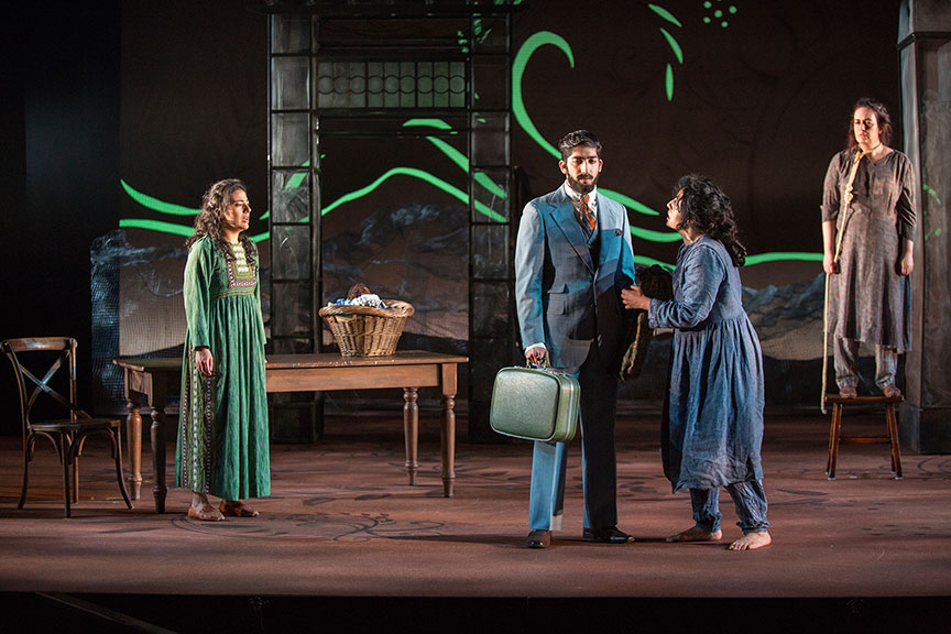 (from left) Nadine Malouf as Laila, Jason Kapoor as Jalil, Denmo Ibrahim as Mariam, and Lanna Joffrey as Nana in A Thousand Splendid Suns, written by Ursula Rani Sarma, based on the book by Khaled Hosseini, directed by Carey Perloff, and co-produced by American Conservatory Theater, runs May 12 – June 17, 2018 at The Old Globe. Photo by Jim Cox.