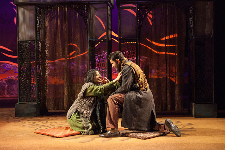 Nadine Malouf as Laila and Antoine Yared as Tariq in A Thousand Splendid Suns, written by Ursula Rani Sarma, based on the book by Khaled Hosseini, directed by Carey Perloff, and co-produced by American Conservatory Theater, runs May 12 – June 17, 2018 at The Old Globe. Photo by Jim Cox.