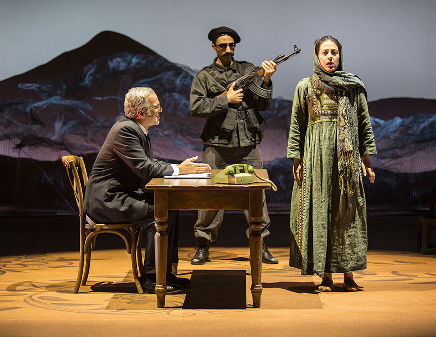 (from left) Joseph Kamal as Interrogator, Antoine Yared as Militiaman, and Nadine Malouf as Laila in A Thousand Splendid Suns, written by Ursula Rani Sarma, based on the book by Khaled Hosseini, directed by Carey Perloff, and co-produced by American Conservatory Theater, runs May 12 – June 17, 2018 at The Old Globe. Photo by Jim Cox.
