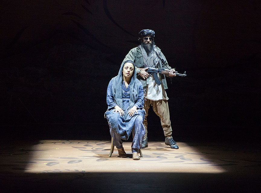 Denmo Ibrahim as Mariam and Haysam Kadri as Talib Soldier in A Thousand Splendid Suns, written by Ursula Rani Sarma, based on the book by Khaled Hosseini, directed by Carey Perloff, and co-produced by American Conservatory Theater, runs May 12 – June 17, 2018 at The Old Globe. Photo by Jim Cox.