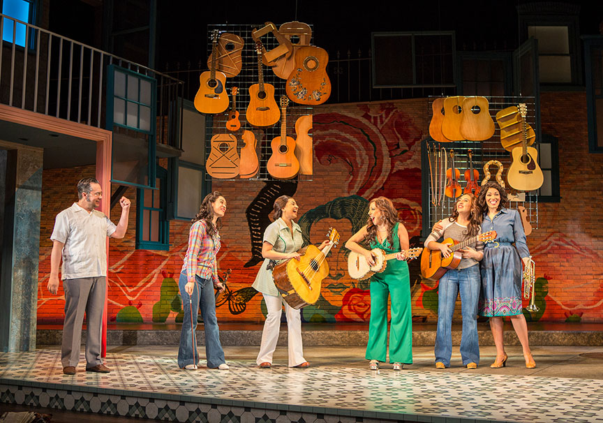(from left) Rodney Lizcano, Jennifer Paredes, Natalie Camunas, Crissy Guerrero, Heather Velazquez, and Amanda Robles in American Mariachi, written by José Cruz González, directed by James Vásquez, in association with Denver Center for the Performing Arts Theatre Company, running March 23 – April 29, 2018 at The Old Globe. Photo by Jim Cox.