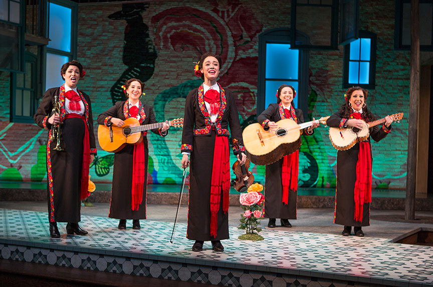 (from left) Amanda Robles, Heather Velazquez, Jennifer Paredes, Natalie Camunas, and Crissy Guerrero in American Mariachi, written by José Cruz González, directed by James Vásquez, in association with Denver Center for the Performing Arts Theatre Company, running March 23 – April 29, 2018 at The Old Globe. Photo by Jim Cox.