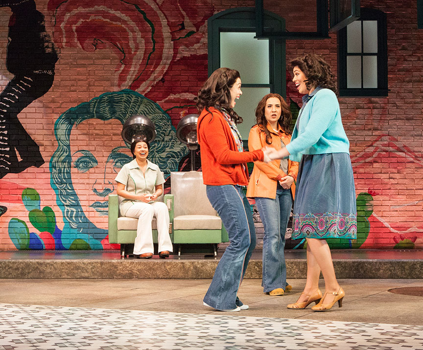 (from left) Natalie Camunas, Jennifer Paredes, Heather Velazquez, and Amanda Robles in American Mariachi, written by José Cruz González, directed by James Vásquez, in association with Denver Center for the Performing Arts Theatre Company, running March 23 – April 29, 2018 at The Old Globe. Photo by Jim Cox.
