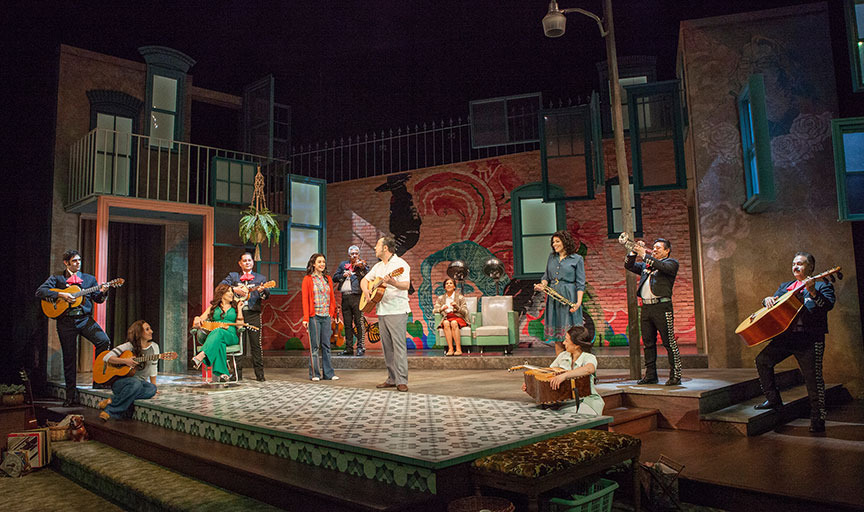 The cast and mariachis of American Mariachi, written by José Cruz González, directed by James Vásquez, in association with Denver Center for the Performing Arts Theatre Company, running March 23 – April 29, 2018 at The Old Globe. Photo by Jim Cox.