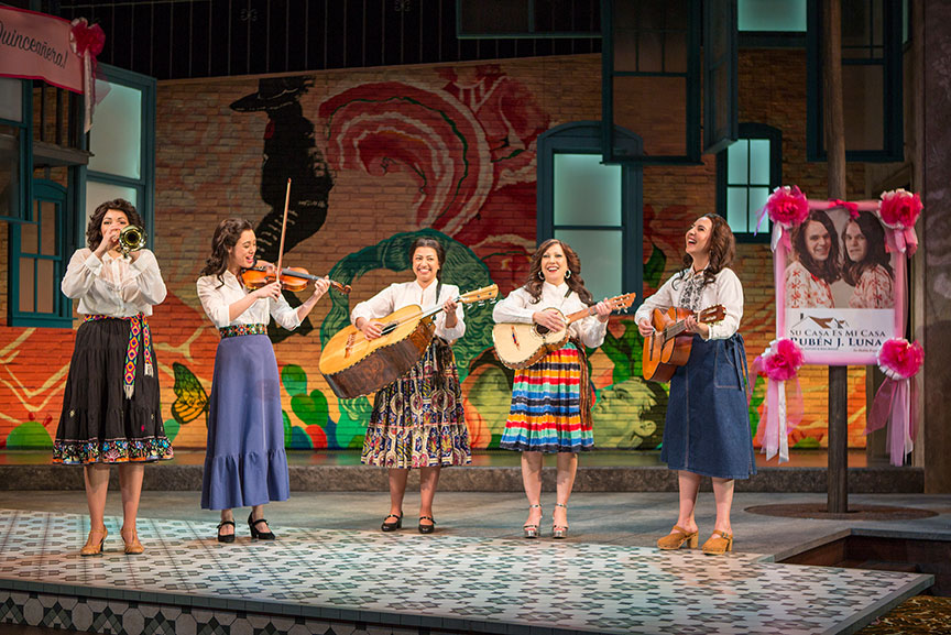(from left) Amanda Robles, Jennifer Paredes, Natalie Camunas, Crissy Guerrero, and Heather Velazquez in American Mariachi, written by José Cruz González, directed by James Vásquez, in association with Denver Center for the Performing Arts Theatre Company, running March 23 – April 29, 2018 at The Old Globe. Photo by Jim Cox.