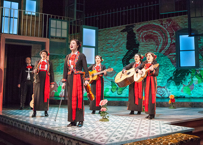 The cast of American Mariachi, written by José Cruz González, directed by James Vásquez, in association with Denver Center for the Performing Arts Theatre Company, running March 23 – April 29, 2018 at The Old Globe. Photo by Jim Cox.