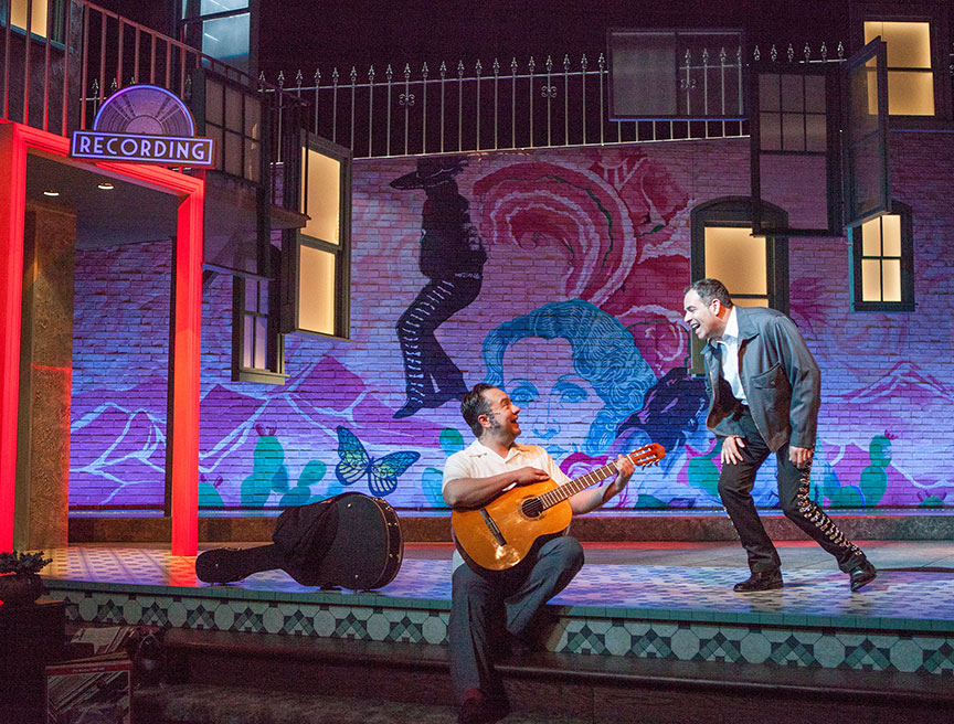 (from left) Rodney Lizcano and Bobby Plasencia in American Mariachi, written by José Cruz González, directed by James Vásquez, in association with Denver Center for the Performing Arts Theatre Company, running March 23 – April 29, 2018 at The Old Globe. Photo by Jim Cox.
