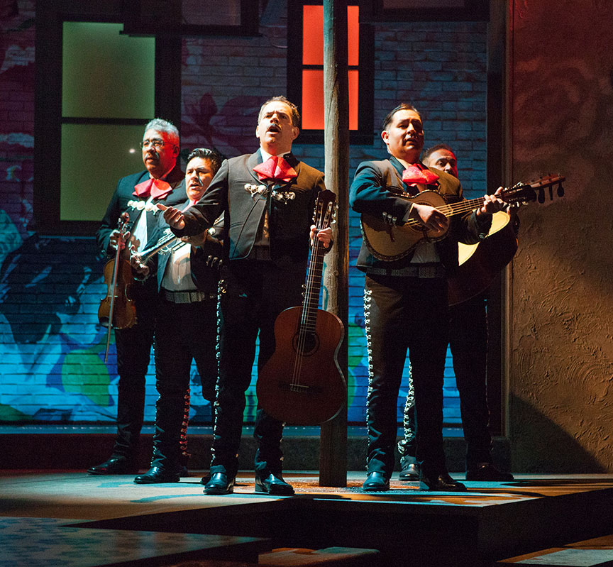 (from left) Tom Tinoco, Fernando Guadalupe Zarate Hernandez, Bobby Plasencia, Erick Jiminez, and Ruben Marin in American Mariachi, written by José Cruz González, directed by James Vásquez, in association with Denver Center for the Performing Arts Theatre Company, running March 23 – April 29, 2018 at The Old Globe. Photo by Jim Cox.