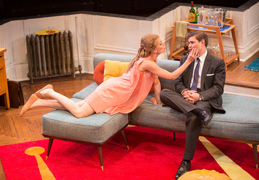 Kerry Bishé as Corie Bratter and Chris Lowell as Paul Bratter in Barefoot in the Park, by Neil Simon, directed by Jessica Stone, running July 28 - August 26, 2018 at The Old Globe. Photo by Jim Cox.