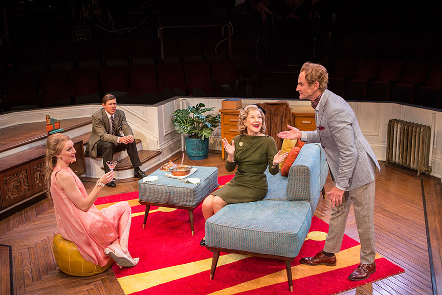 Kerry Bishé as Corie Bratter, Chris Lowell as Paul Bratter, Mia Dillon as Mrs. Ethel Banks, and Jere Burns as Victor Velasco in Barefoot in the Park, by Neil Simon, directed by Jessica Stone, running July 28 - August 26, 2018 at The Old Globe. Photo by Jim Cox.