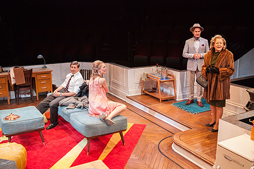 Chris Lowell as Paul Bratter, Kerry Bishé as Corie Bratter, Jere Burns as Victor Velasco, and Mia Dillon as Mrs. Ethel Banks in Barefoot in the Park, by Neil Simon, directed by Jessica Stone, running July 28 - August 26, 2018 at The Old Globe. Photo by Jim Cox.