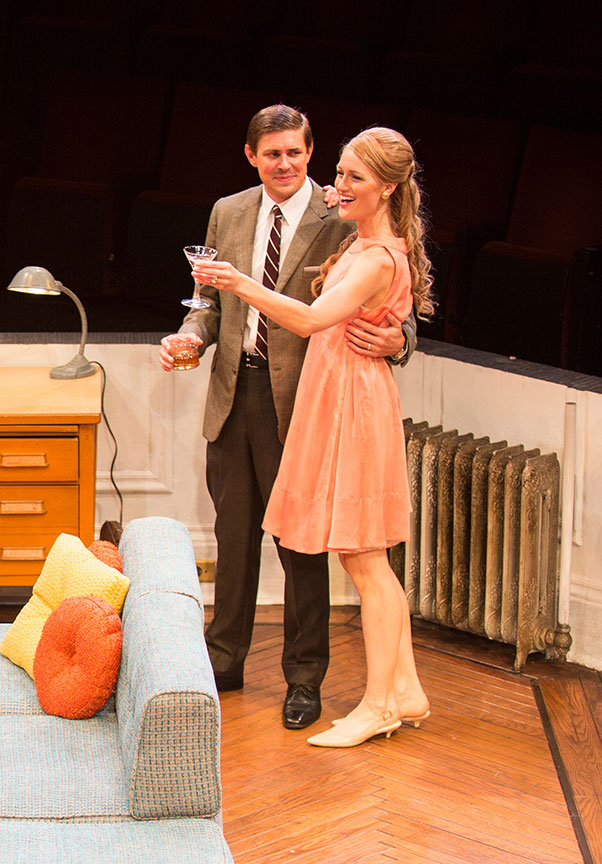 Chris Lowell as Paul Bratter and Kerry Bishé as Corie Bratte in Barefoot in the Park, by Neil Simon, directed by Jessica Stone, running July 28 - August 26, 2018 at The Old Globe. Photo by Jim Cox.