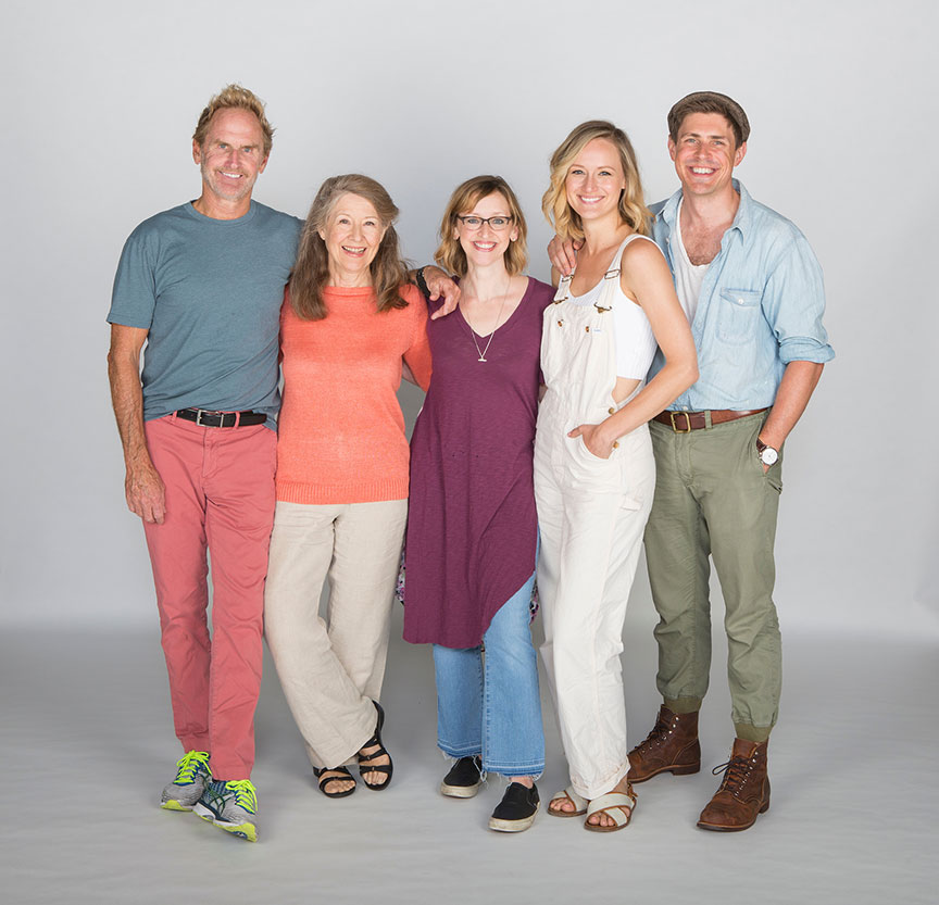 Director Jessica Stone (center) with Jere Burns, Mia Dillon, Kerry Bishé, and Chris Lowell. Barefoot in the Park, by Neil Simon, directed by Jessica Stone, runs July 28 - August 26, 2018 at The Old Globe. Photo by Jim Cox.