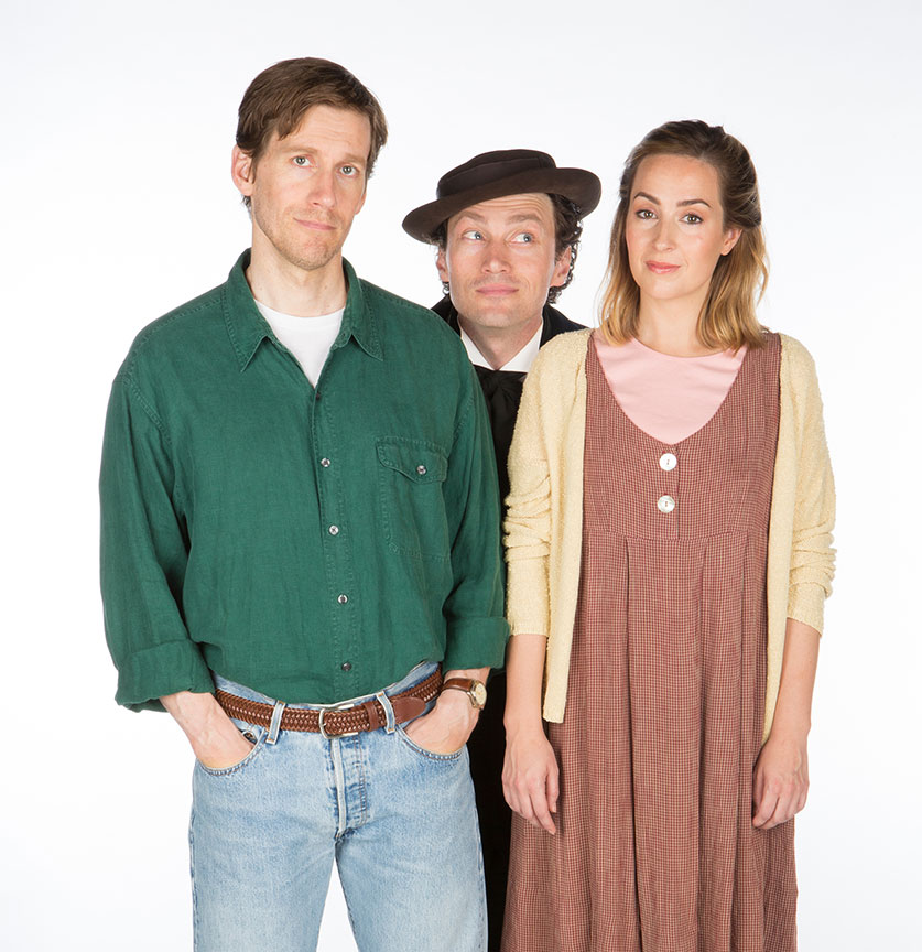(from left) Andrew Samonsky appears as Benny, Bryce Pinkham as Sam, and Hannah Elless as Joon in Benny & Joon, book by Kirsten Guenther, music by Nolan Gasser, lyrics by Mindi Dickstein, directed by Jack Cummings III, running September 7 – October 22, 2017 at The Old Globe. Photo by Jim Cox.