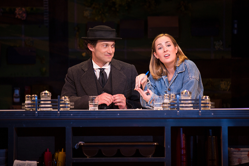 Bryce Pinkham as Sam and Hannah Elless as Joon in Benny & Joon, book by Kirsten Guenther, music by Nolan Gasser, lyrics by Mindi Dickstein, directed by Jack Cummings III, running September 7 – October 22, 2017 at The Old Globe. Photo by Jim Cox.