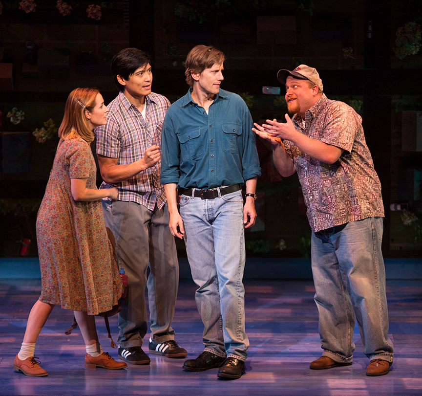 (from left) Hannah Elless as Joon, Paolo Montalban as Larry, Andrew Samonsky as Benny, and Jason SweetTooth Williams as Waldo in Benny & Joon, book by Kirsten Guenther, music by Nolan Gasser, lyrics by Mindi Dickstein, directed by Jack Cummings III, running September 7 – October 22, 2017 at The Old Globe. Photo by Jim Cox.