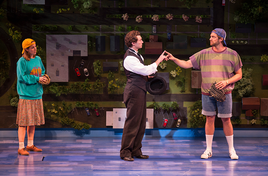 (from left) Hannah Elless as Joon, Bryce Pinkham as Sam, and Colin Hanlon as Mike in Benny & Joon, book by Kirsten Guenther, music by Nolan Gasser, lyrics by Mindi Dickstein, directed by Jack Cummings III, running September 7 – October 22, 2017 at The Old Globe. Photo by Jim Cox.