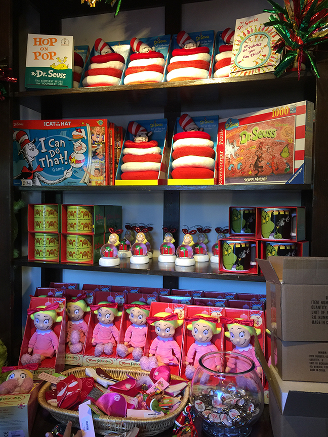 Many Grinch gifts and other Seussian treats are available in The Old Globe's Helen Edison Gift Shop for the 2017 holiday season. Photo by Susan Chicoine.