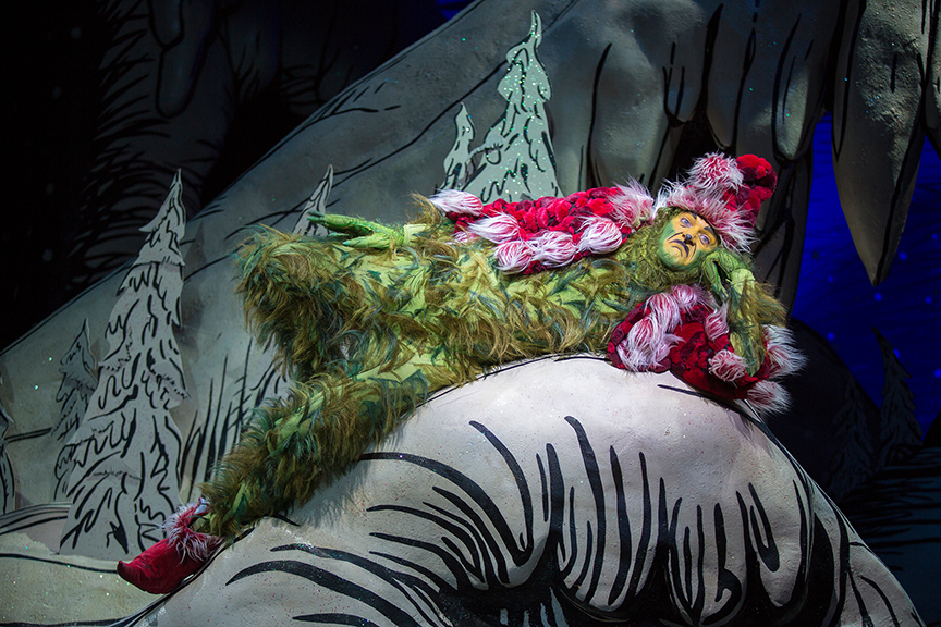 Edward Watts appears as The Grinch in Dr. Seuss's How the Grinch Stole Christmas!, book and lyrics by Timothy Mason, music by Mel Marvin, original production conceived and directed by Jack O'Brien, original choreography by John DeLuca, and directed by James Vásquez, running November 4 – December 24, 2017 at The Old Globe. Photo by Jim Cox.