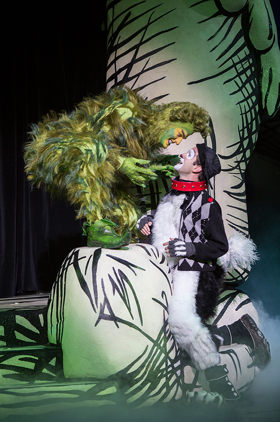 (from left) Edward Watts appears as The Grinch and Dan DeLuca as Young Max in Dr. Seuss's How the Grinch Stole Christmas!, book and lyrics by Timothy Mason, music by Mel Marvin, original production conceived and directed by Jack O'Brien, original choreography by John DeLuca, and directed by James Vásquez, running November 4 – December 24, 2017 at The Old Globe. Photo by Jim Cox.