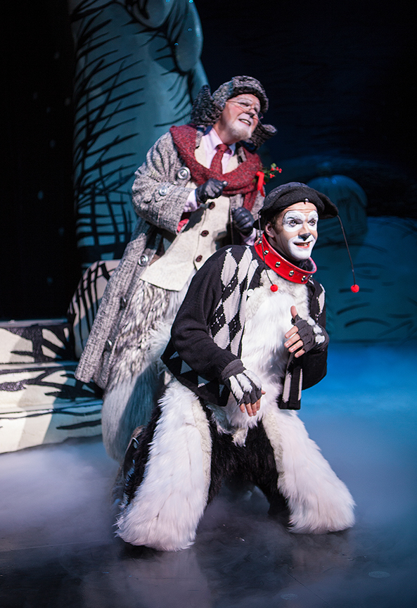 (from left) Steve Gunderson appears as Old Max and Dan DeLuca as Young Max in Dr. Seuss's How the Grinch Stole Christmas!, book and lyrics by Timothy Mason, music by Mel Marvin, original production conceived and directed by Jack O'Brien, original choreography by John DeLuca, and directed by James Vásquez, running November 4 – December 24, 2017 at The Old Globe. Photo by Jim Cox.