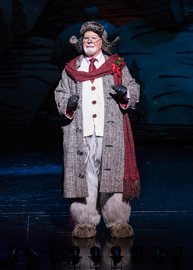 Steve Gunderson appears as Old Max in Dr. Seuss's How the Grinch Stole Christmas!, book and lyrics by Timothy Mason, music by Mel Marvin, original production conceived and directed by Jack O'Brien, original choreography by John DeLuca, and directed by James Vásquez, running November 4 – December 24, 2017 at The Old Globe. Photo by Jim Cox.