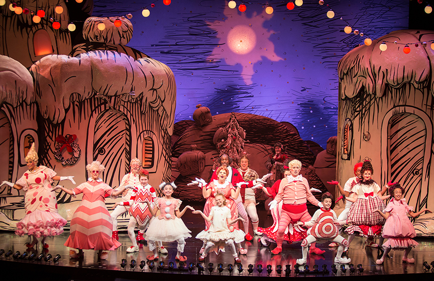 The cast of Dr. Seuss's How the Grinch Stole Christmas!, book and lyrics by Timothy Mason, music by Mel Marvin, original production conceived and directed by Jack O'Brien, original choreography by John DeLuca, and directed by James Vásquez, running November 4 – December 24, 2017 at The Old Globe. Photo by Jim Cox.