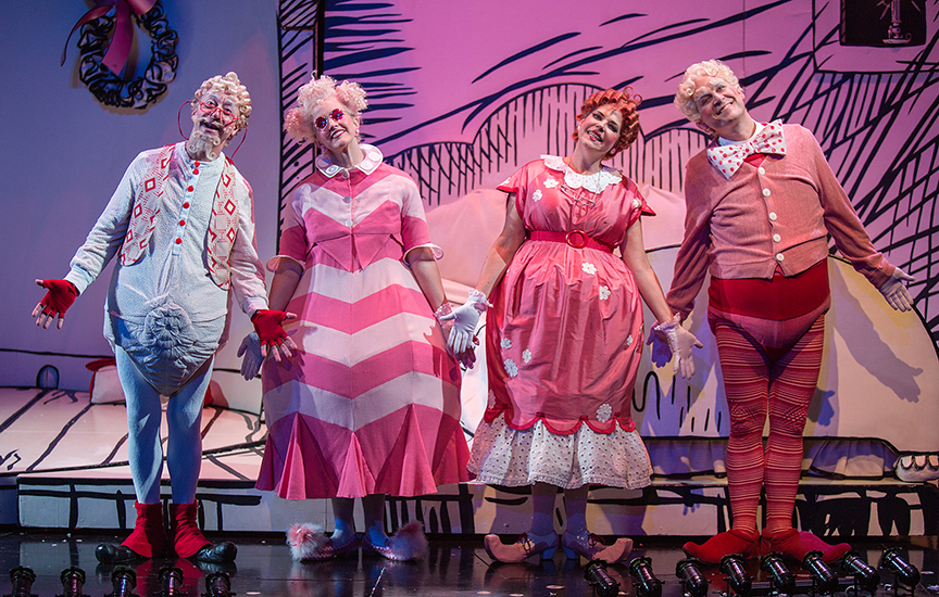 (from left) Larry Raben appears as Grandpa Who, Nancy Snow Carr as Grandma Who, Bets Malone as Mama Who, and Robert J. Townsend as Papa Who in Dr. Seuss's How the Grinch Stole Christmas!, book and lyrics by Timothy Mason, music by Mel Marvin, original production conceived and directed by Jack O'Brien, original choreography by John DeLuca, and directed by James Vásquez, running November 4 – December 24, 2017 at The Old Globe. Photo by Jim Cox.